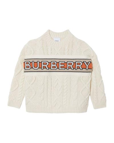 Boy's Arnold Logo Stripe Cable Knit Sweater, Size 4-14