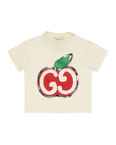 Girl's Sequin GG Apple Graphic T-Shirt, Size 12-36 Months