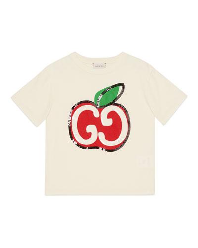 Girl's Sequin GG Apple Graphic Short-Sleeve T-Shirt, Size 4-10