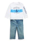 Ralph Lauren Childrenswear Boy's Long-Sleeve Logo Anchor Print