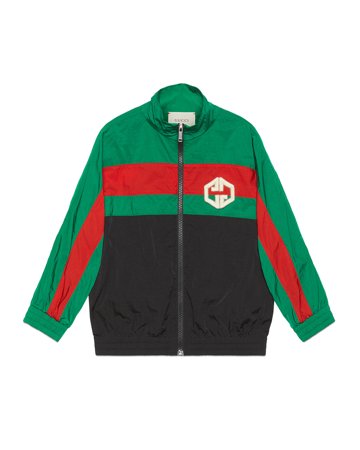 Gucci Kids' Boy's Colorblock Zip-front Embroidered Nylon Jacket In Black