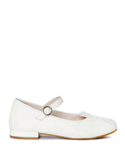 Butterfly Leather Ballet Flats, Toddler/Kids