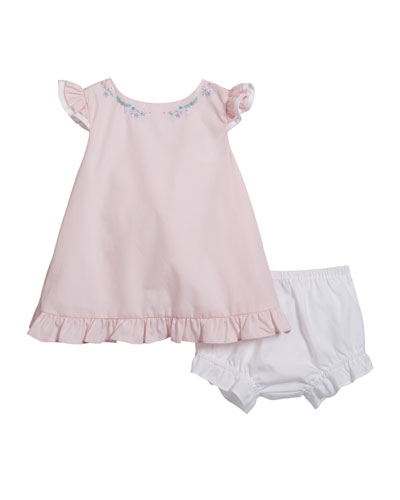 Girl's Floral Embroidered Ruffle Dress w/ Matching Bloomers, Size 3-24 Months
