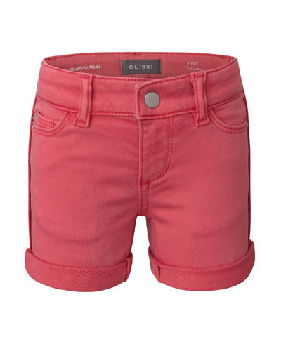 Girl's Piper Cuffed Denim Shorts, Size 7-16