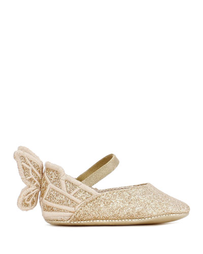Chiara Glitter Embroidered Butterfly-Wing Flats, Baby