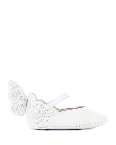 Chiara Tonal Embroidered Leather Butterfly-Wing Flats, Baby