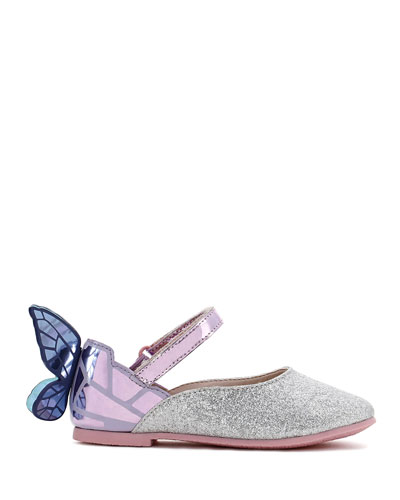 Chiara Fine Glitter Mirrored Butterfly Mary Jane Flats, Baby/Toddler