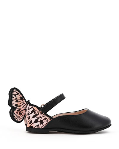 Chiara Leather Butterfly Mary Jane Flats, Baby/Toddler