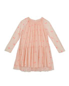 Stella McCartney Kids Girl's Embroidered Hearts Long-Sleeve Tulle