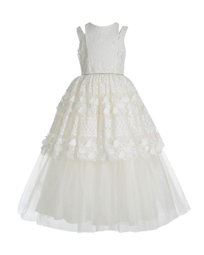 Kid's Split Shoulder Lace Tulle Tiered Gown, Size 7-14