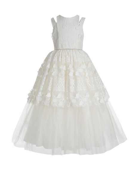 Badgley Mischka Kid's Kid's Split Shoulder Lace Tulle Tiered Gown, Size 7-14