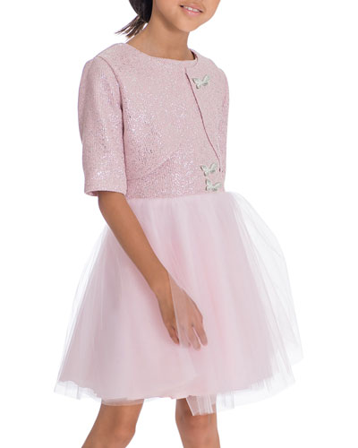 Girl's Shai Foiled Tulle Party Dress 2-Piece Set, Size 7-16