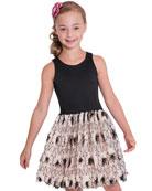 Zoe Girl's Daisy Textured Bubble Halter Dress, Size