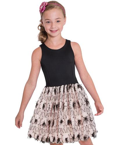 Girl's Daisy Textured Bubble Halter Dress, Size 7-16