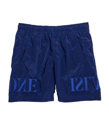 Stone Island Boy's Nylon Pull-On Shorts w/ Backwards Logo Applique, Size 14