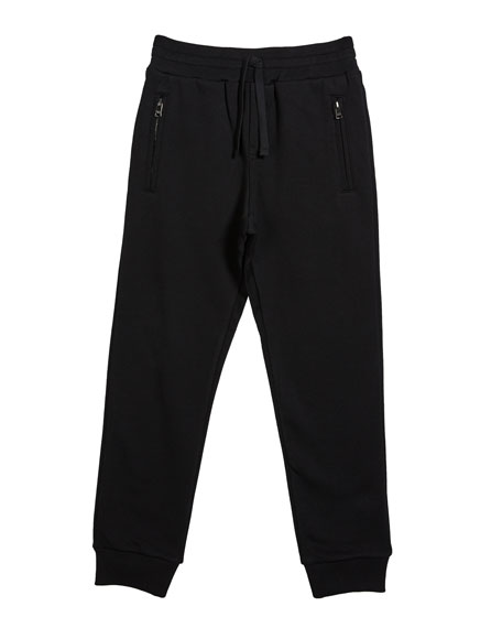 Dolce & Gabbana Boy's Zip Pockets Jogger Sweatpants, Size 8-12