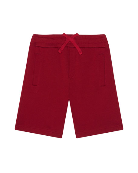 Dolce & Gabbana Boy's Jersey Shorts w/ Logo Patch, Size 4-6