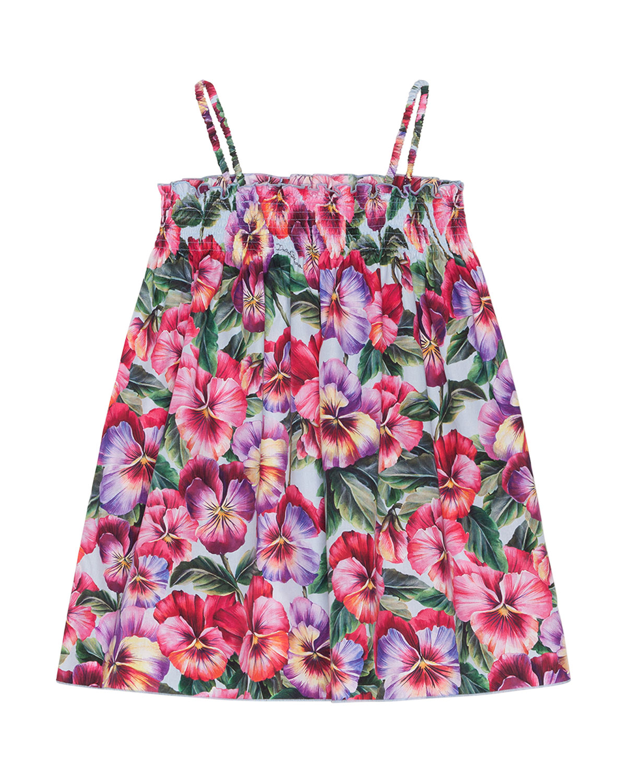 Dolce & Gabbana GIRL'S BLOOMING FLORAL SHIRRED DRESS