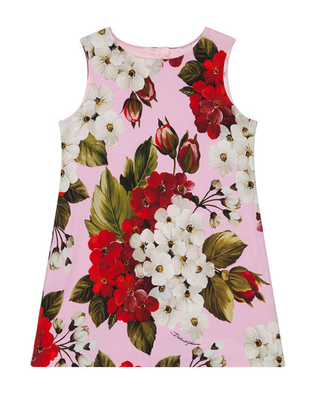 Dolce & Gabbana Girl's Blooming Floral A-Line Dress, Size 8-12