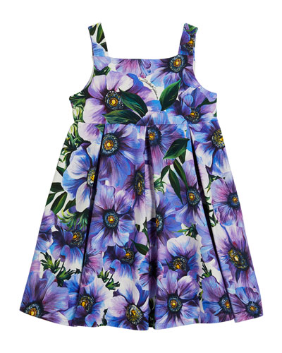 Girl's Blooming Floral Print Sleeveless Dress, Size 12-30 Months