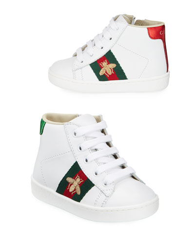 New Ace Embroidered Leather High Top Tennis Shoes, Toddler