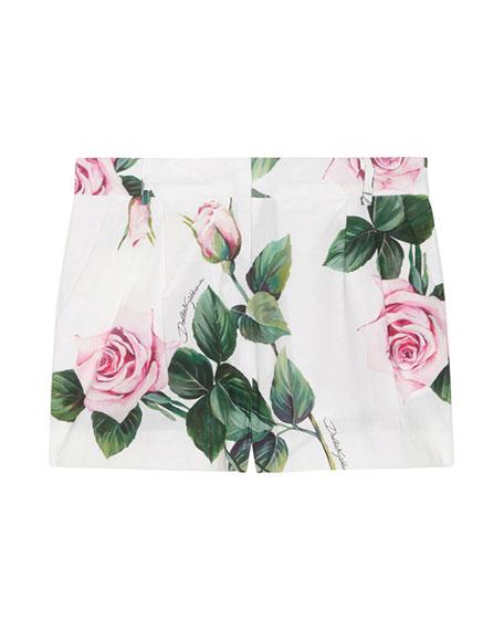 Dolce & Gabbana Girl's Rose Print Shorts, Size 8-12