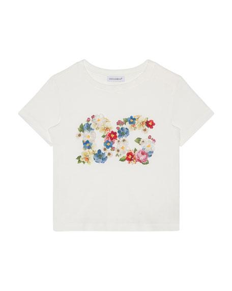 Dolce & Gabbana Girl's Blooming Logo Tee, Size 4-6