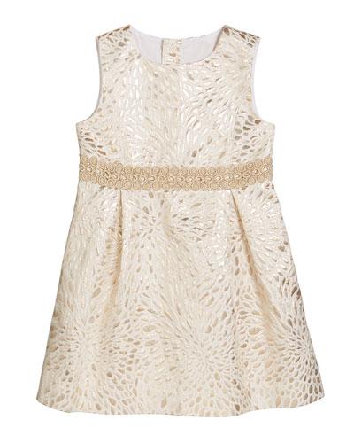 Girl's Abrianna Metallic Jacquard Dress, Size 2-14