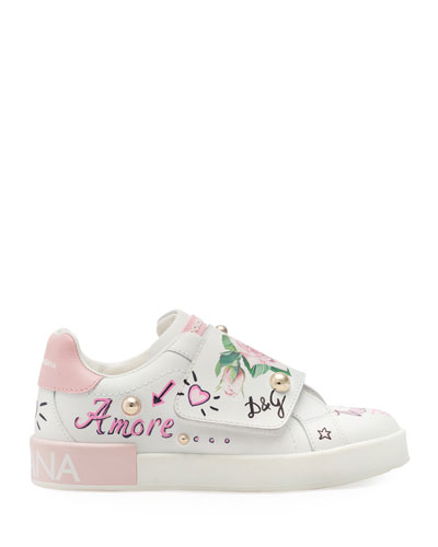 Floral Print Grip-Strap Leather Sneakers, Toddler/Kids