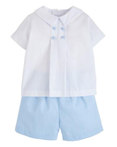 Boy's Gatsby Short-Sleeve Top w/ Matching Shorts, Size 18M-4T