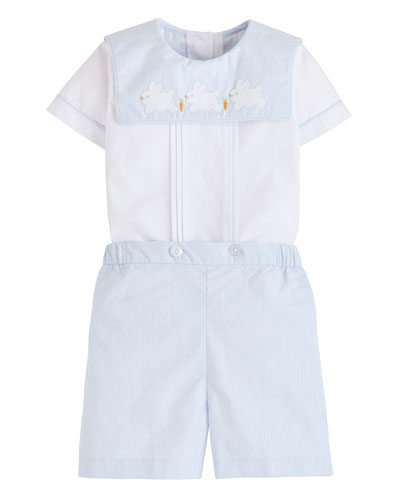 Boy's Bunny Jack Top w/ Matching Button-On Shorts, Size 12M-3T