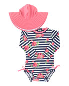 RuffleButts Girl's Rosy Stripe One-Piece Rash Guard w/