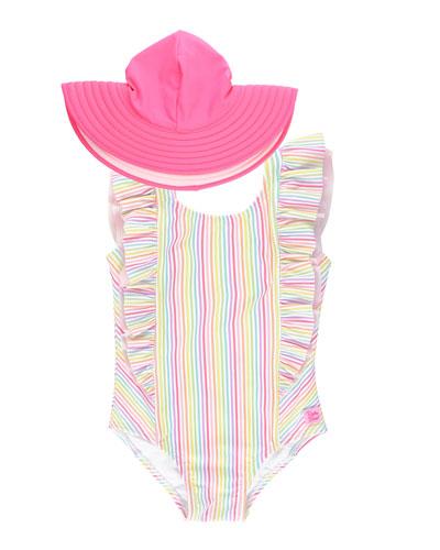 Sun Protective Ruffled Swimsuit RuffleButts Girls High Neck One Piece UPF 50