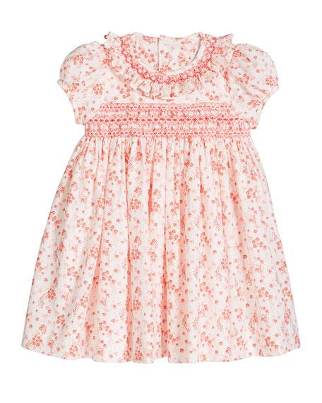 Luli & Me Girl's Coral Floral-Print Smocked Dress, Size 12-24 Months