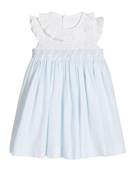 Luli & Me Girl's Blue/White Smocked Dress, Size 3-18 Months