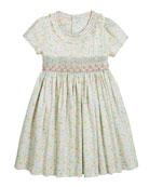 Luli & Me Girl's Aqua Short-Sleeve Floral Smocked