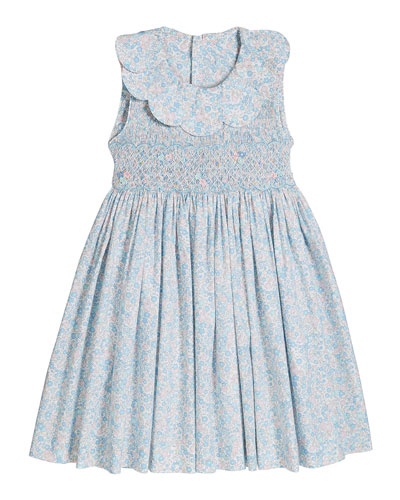 Girl's Floral Print Petal Collar Smocked Dress, Size 4-6X