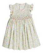 Luli & Me Girl's Aqua Floral Smocked Dress,