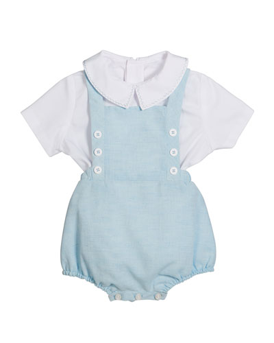 Short-Sleeve Top w/ Linen Romper, Size 3-9 Months
