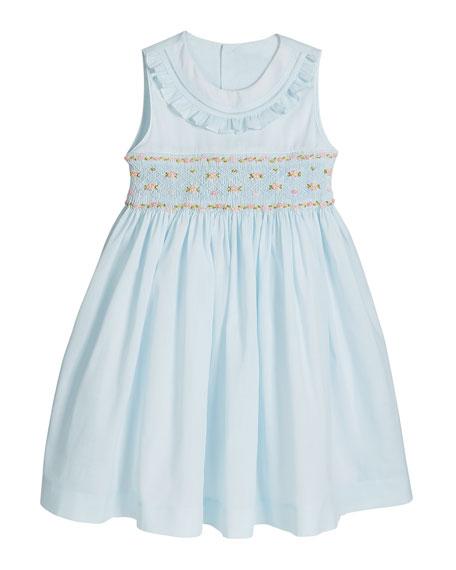Luli & Me Girl's Blue Smocked Dress, Size 2-4T