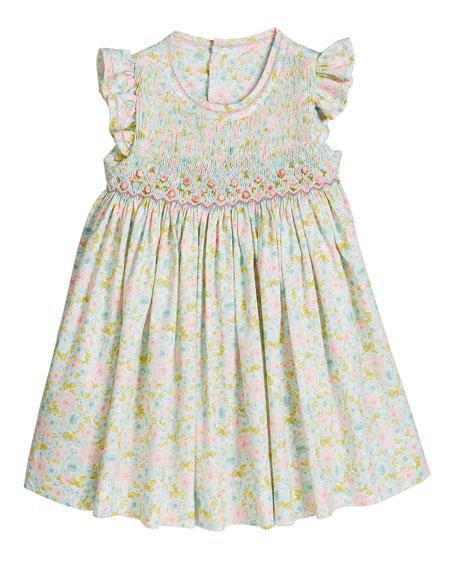 Luli & Me Girl's Aqua Floral Smocked Dress, Size 2-4T