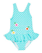 Florence Eiseman Polka Dot Ruffle-Skirt One-Piece Swimsuit, Size