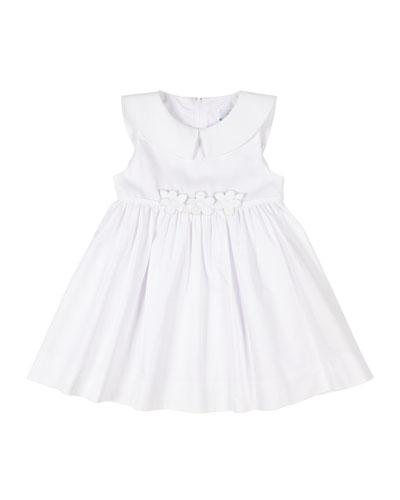 Girl's Fine Wale Pique Dress w/ Flower Applique, Size 9-24 Months
