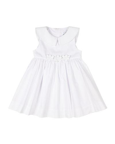Girl's Fine Wale Pique Dress w/ Flower Applique, Size 2-6X