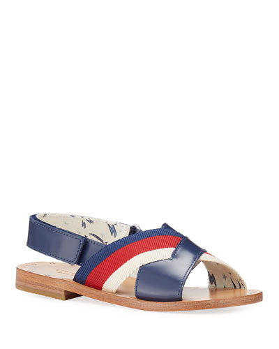 Navy Stripe Web Crisscross Sandal, Kids