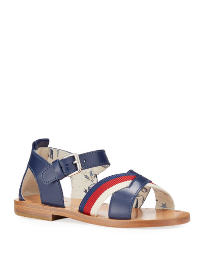 Red Web Stripe Crisscross Sandals, Toddler