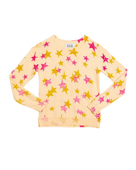 Autumn Cashmere Girl's Inked Star-Print Drop Shoulder Top, Size 8-16
