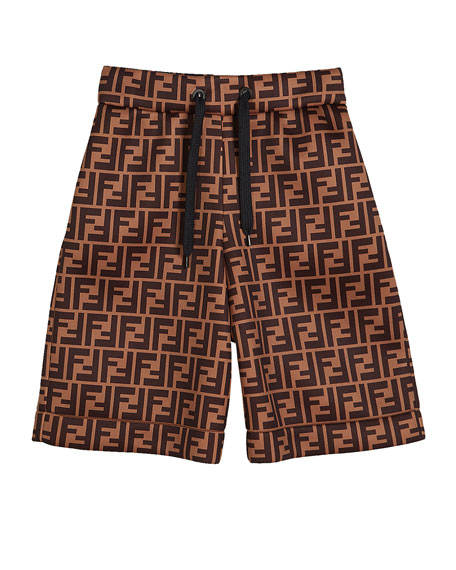 Fendi Boy's FF-Print Drawstring Shorts, Size 4-6