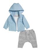 Miniclasix Boy's Hooded Jacket w/ Short-Sleeve Top &