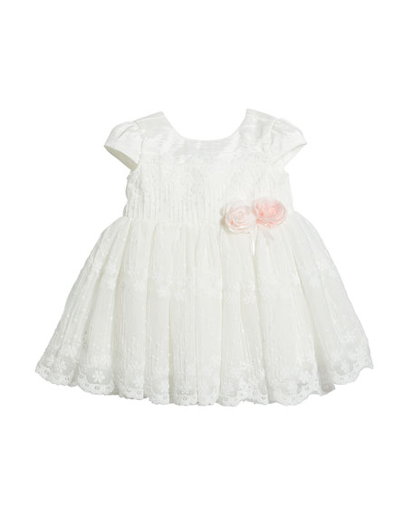 Miniclasix Short-Sleeve Lace Dress, Size 3-24 Months
